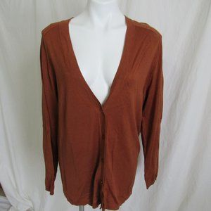 Chico's Brown Silk Blend Cardigan Sweater 3 16 XL